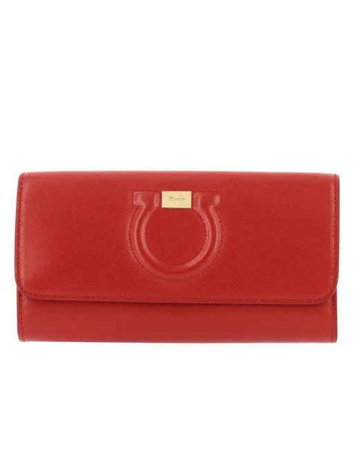 Ferragamo Red Gancio City Mini Bag Chain Wallet In Genuine Leather With Shoulder Strap