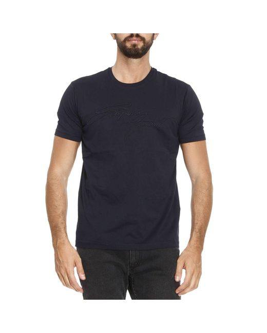 Emporio Armani | Blue T-shirt Men for Men | Lyst