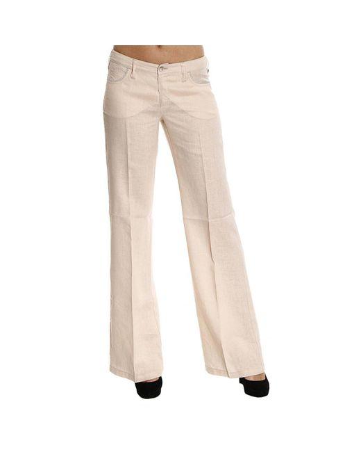 Armani Jeans - Natural Jeans Lino Dettagli Lurex Zampa - Lyst