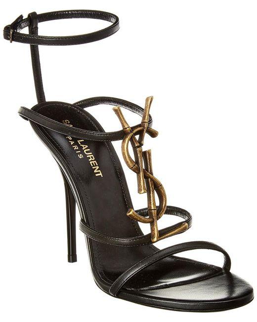 Saint Laurent - Black Cassandra 110 Leather Ankle Strap Sandal - Lyst