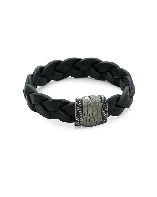 John Hardy - Metallic Black Sapphire, Sterling Silver And Leather Classic Chain Bracelet for Men - Lyst