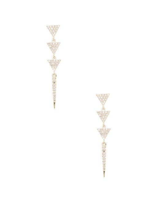 Danni - Metallic 14k Yellow Gold 3 Triangle Spike Stick Earrings - Lyst