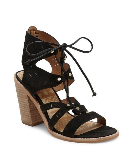 Dolce Vita - Black Luci Leather Cutout Ghillie Lace Sandals - Lyst