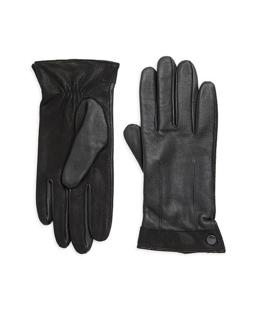 Saks Fifth Avenue - Black Leather Texture Trim Gloves for Men - Lyst