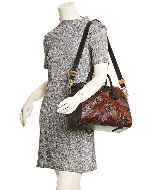4873c5ad903 Lyst - Givenchy Small Antigona Leather   Python Satchel in Black ...