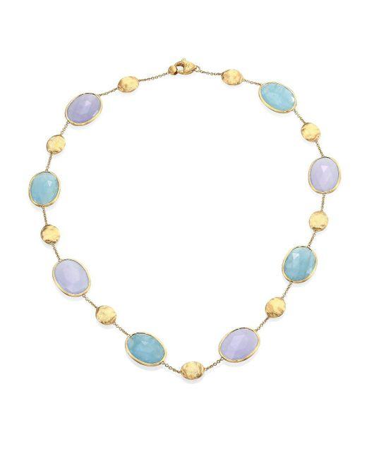 Marco Bicego - Metallic Siviglia Aquamarine, Chalcedony & 18k Yellow Gold Station Necklace - Lyst