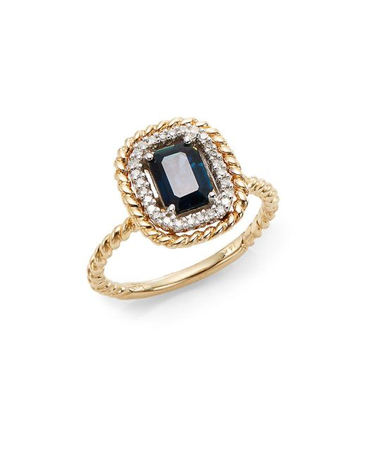 Effy - Blue Final Call Sapphire, Diamond & 14k Yellow Gold Rope Ring - Lyst