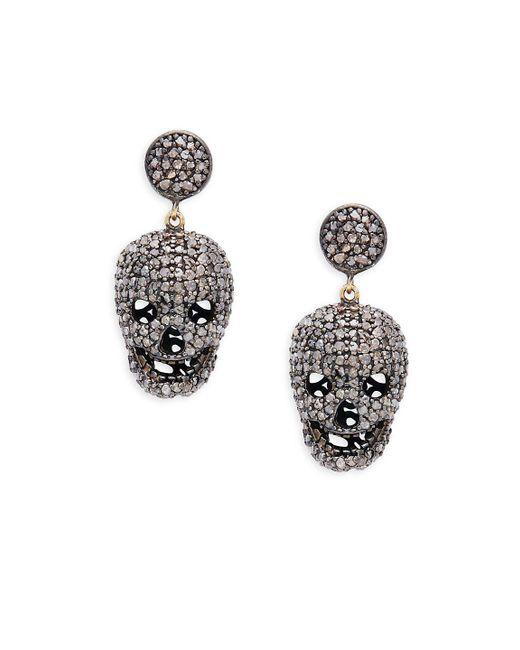 Bavna - Metallic Skull Sterling Silver And Diamond Drop Earrings - Lyst