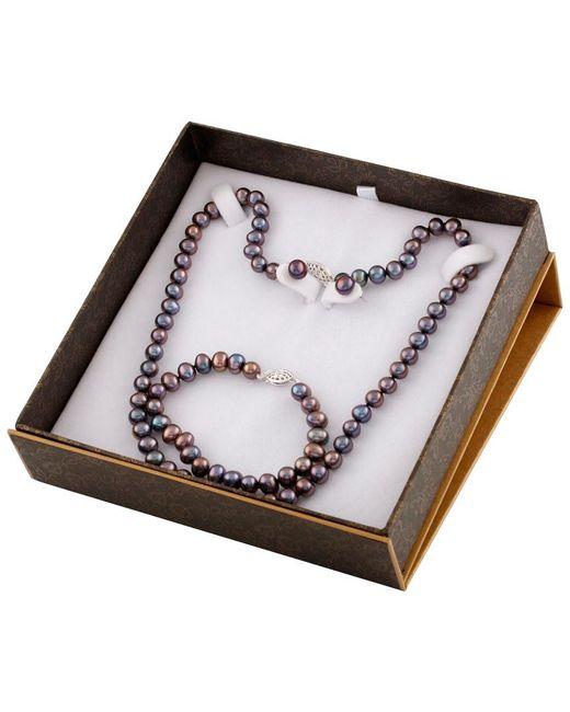 Splendid - Metallic Silver 7-8mm Freshwater Pearl Bracelet & Necklace Set - Lyst