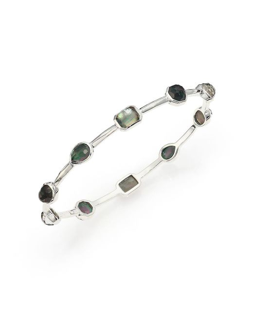 Ippolita - Metallic Rock Candy Black Shell, Clear Quartz & Sterling Silver Bangle Bracelet - Lyst