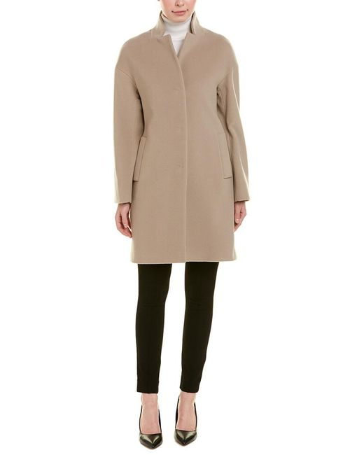 Cinzia Rocca Gray Stand-up Wool & Cashmere-blend Coat