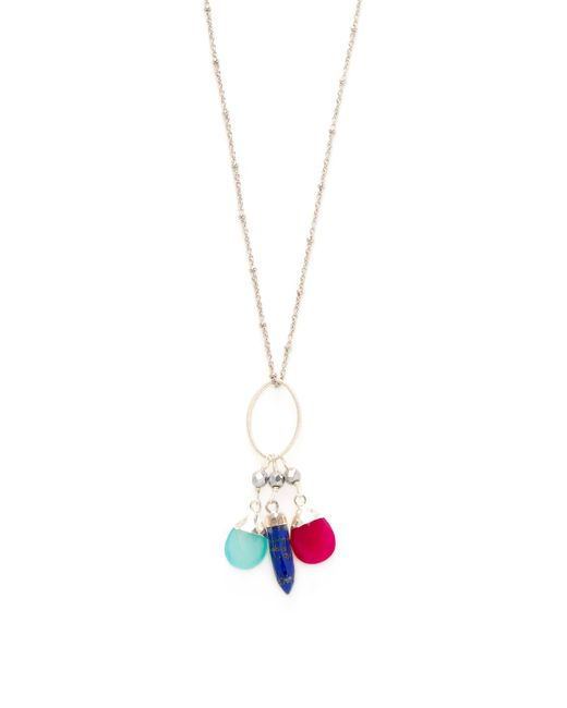 Alanna Bess Jewelry - Multicolor Faceted Lapis & Chalcedony Pendant Necklace - Lyst