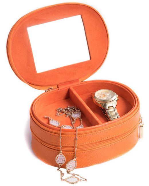 Bey-berk - Orange Lizard Leather 2-level Jewelry Case - Lyst