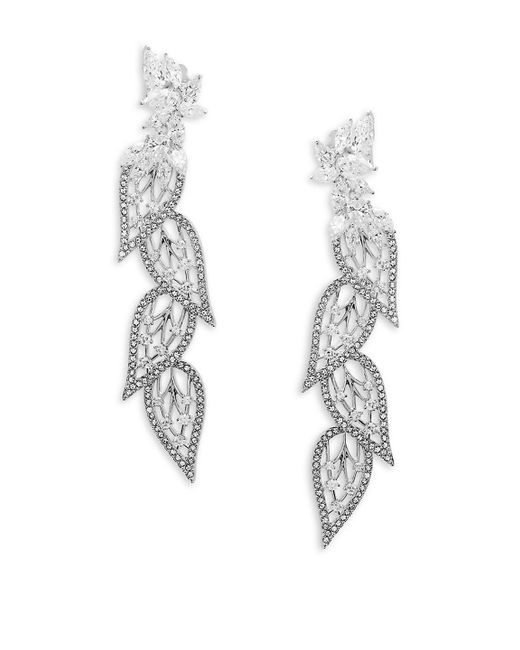 Adriana Orsini - Metallic Crystal Leaf Drop Earrings - Lyst