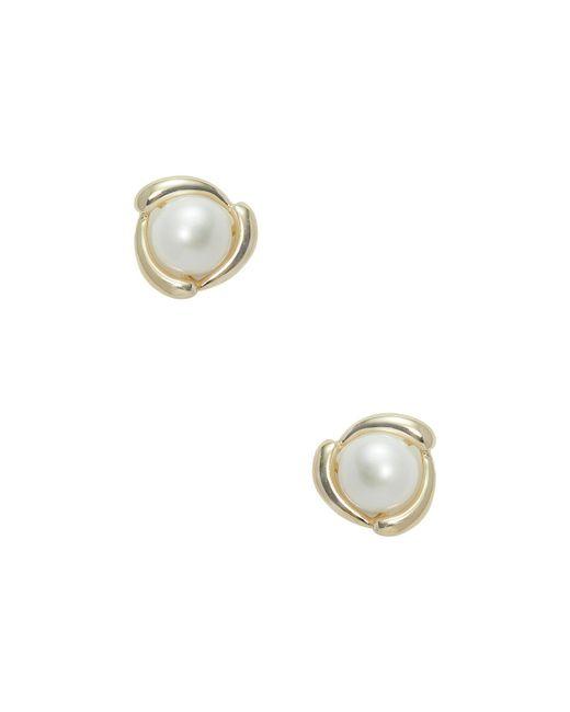 Masako Pearls - White Fancy Yellow Gold & Pearl Stud Earrings - Lyst