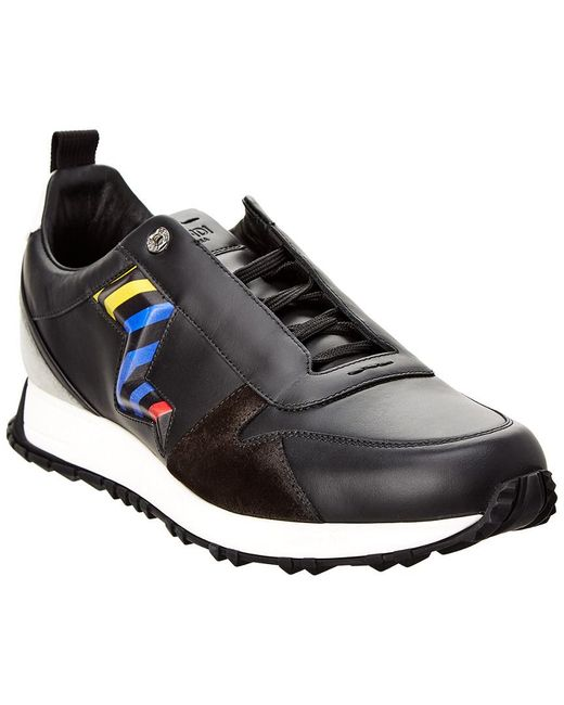 Fendi - Black Leather & Suede Sneaker for Men - Lyst