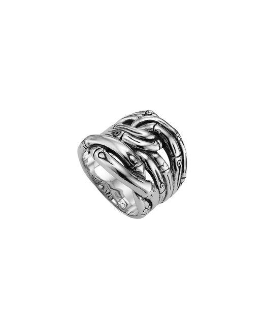 John Hardy - Metallic Bamboo Silver Woven Ring - Lyst