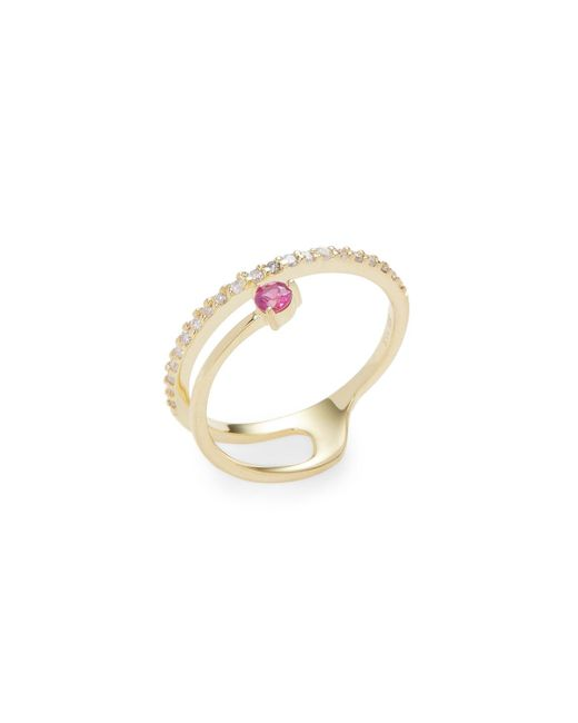 Danni | Metallic 14k Yellow Gold Ruby& Diamond Spiral Ring | Lyst