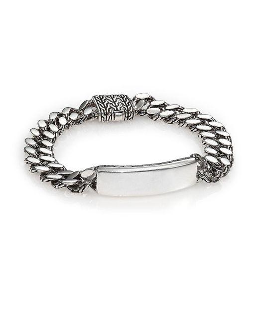 John Hardy - Metallic Classic Chain Gourmette Silver Link Id Bracelet - Lyst