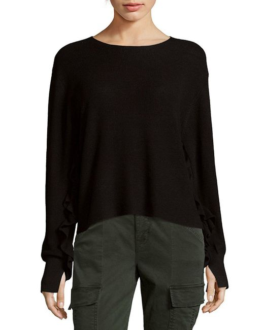 John + Jenn - Black Ripple Sleeve Sweater - Lyst