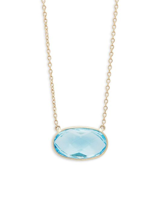 Saks Fifth Avenue - Oval Sky Blue Topaz And 14k Yellow Gold Pendant Necklace - Lyst