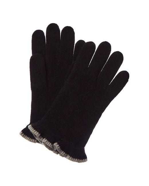 Portolano Black Cashmere Ruffle Glove