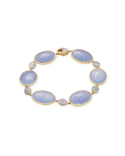 Marco Bicego | Multicolor 18k Yellow Gold 0.62 Tcw Diamond And Chalcedony Bracelet | Lyst