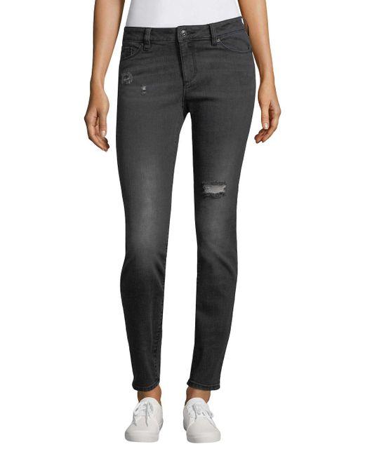 Armani Exchange - Gray Distressed Skinny Jeans - Lyst
