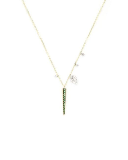 Meira T - Metallic 14k 0.19 Ct. Tw. Diamond & Tsavorite Spike Necklace - Lyst