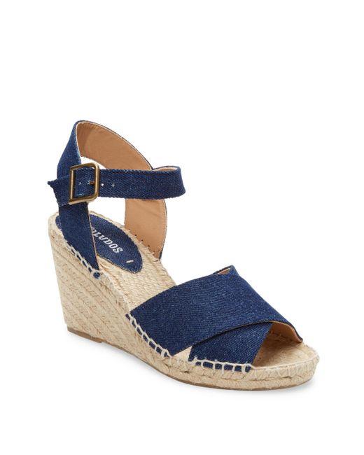 Soludos - Blue Denim Wedge Sandal - Lyst