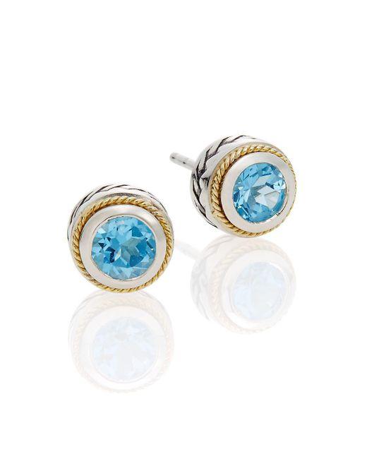 Effy - Metallic Blue Topaz, Sterling Silver & 18k Yellow Gold Button Earrings - Lyst