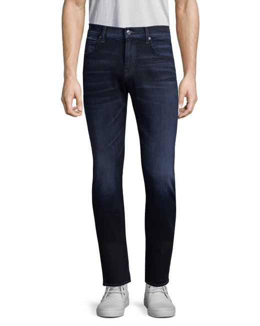 7 For All Mankind - Blue Straight Leg Jean for Men - Lyst