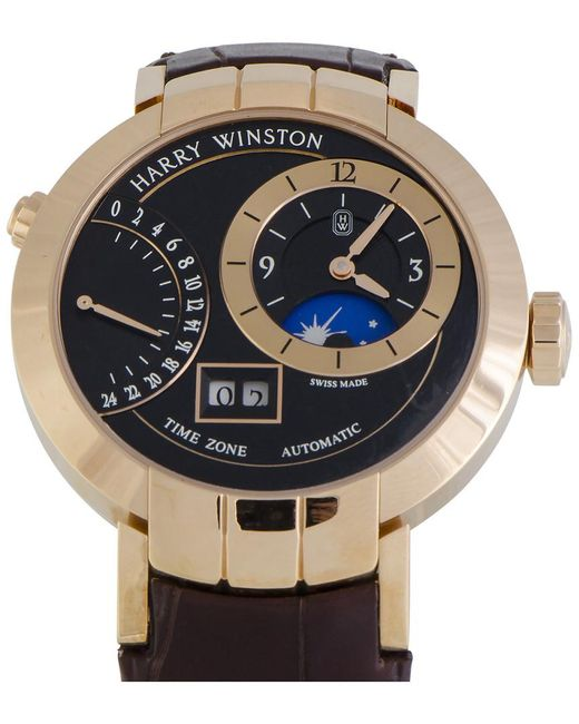 Harry Winston Metallic Men's Premier Excenter Time Zone Automatic Watch for men
