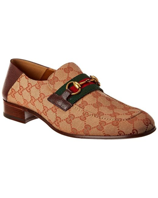 Gucci Brown GG Canvas Horse Bit Leather Loafer for men