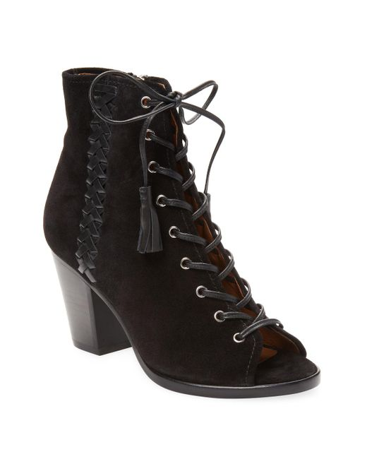 Frye - Black Dani Whipstitch Lace Leather Bootie - Lyst