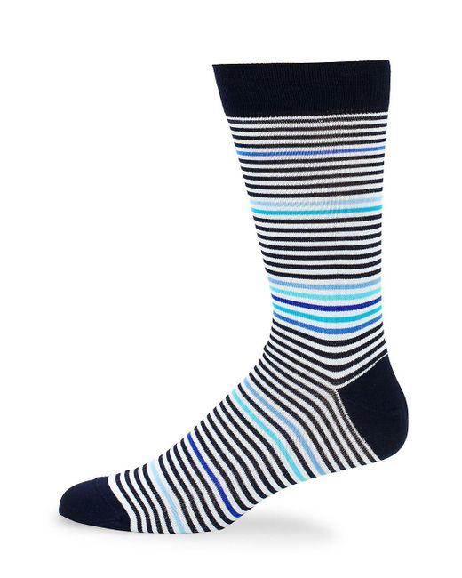 Bugatchi - Blue Striped Crew Socks for Men - Lyst