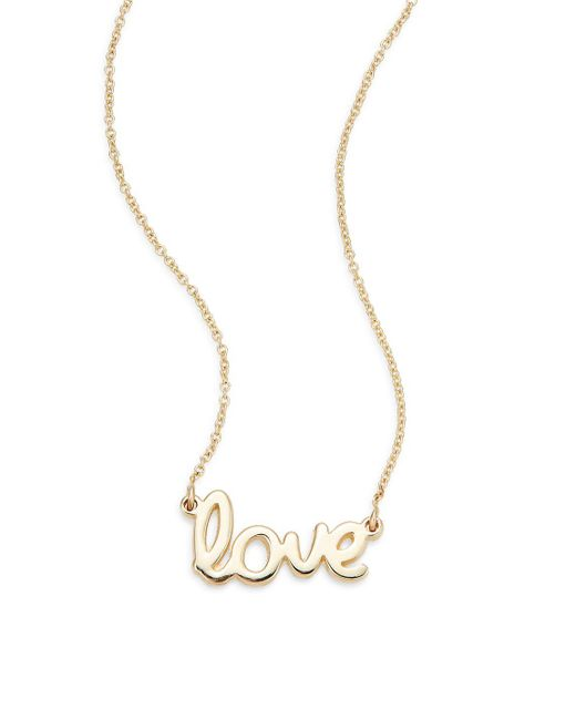 Saks Fifth Avenue - Metallic 14k Yellow Gold Love Necklace - Lyst