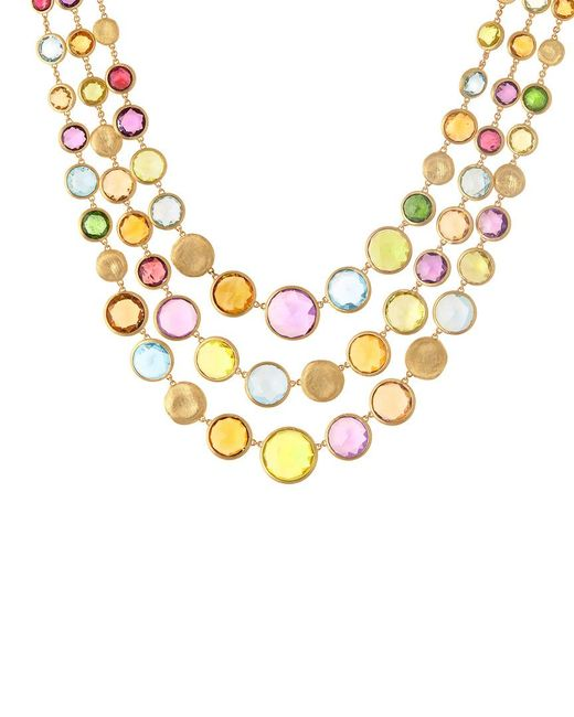 Marco Bicego Metallic Jaipur Color 18k Gemstone Three Strand Necklace