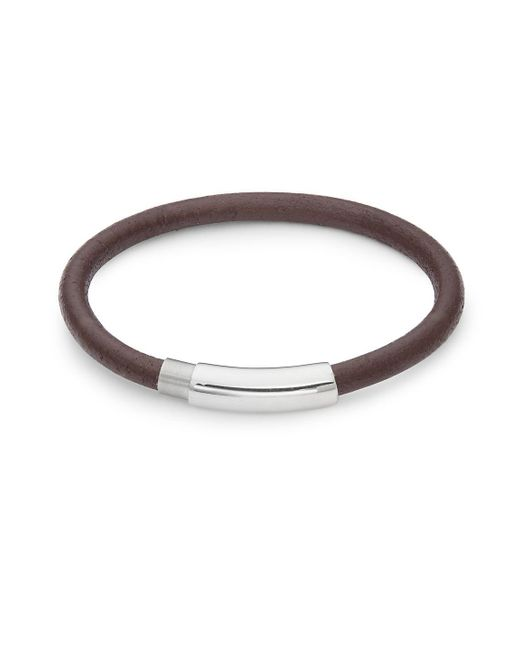 Link Up - Brown Stainless Steel Woven Leather Bracelet for Men - Lyst