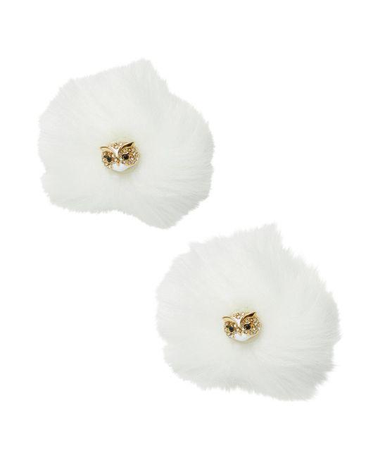 Kate Spade - White Owl Reversible Earrings - Lyst