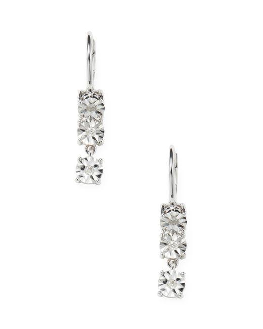 Rina Limor - Metallic 1/6 Ct Diamond Drop Sterling Silver Earrings - Lyst