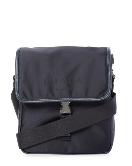 3ae133e416 Lyst - Prada Saffiano Leather Messenger Bag in Blue for Men - Save 28%