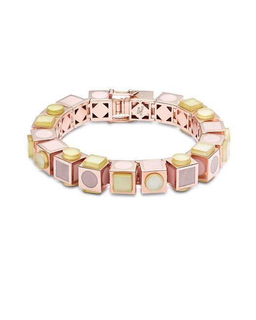 Eddie Borgo   Multicolor 12k Rose Gold-plated Mosaic Cube Bracelet   Lyst