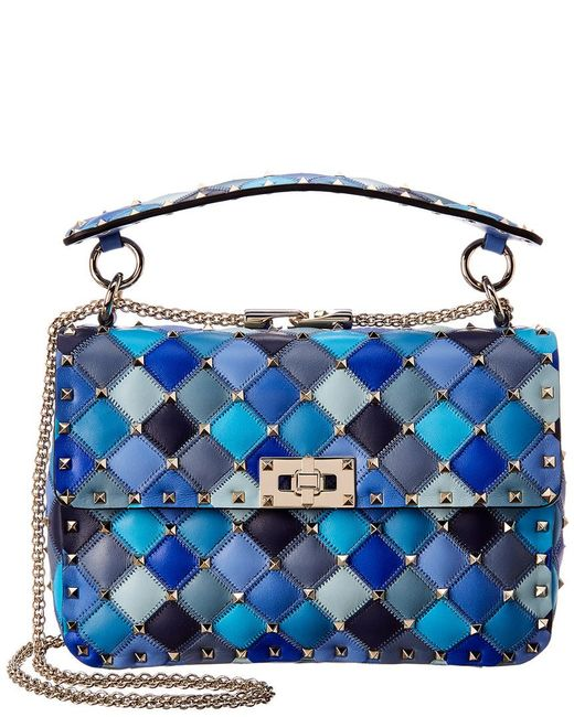 562df369cac3 Valentino - Blue Medium Rockstud Spike Leather Shoulder Bag - Lyst ...