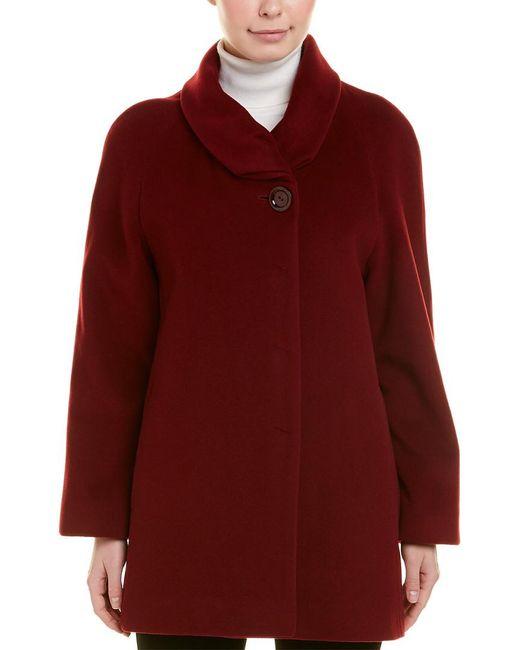 Cinzia Rocca Red Funnel Wool & Cashmere-blend Coat