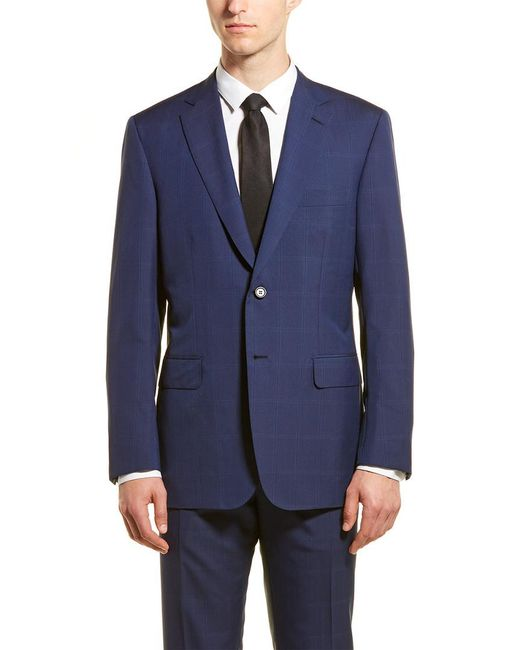Brioni Blue Wool Suit With Flat Front Pant for men