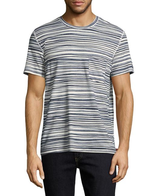 7 For All Mankind - Gray Stripe Tee for Men - Lyst
