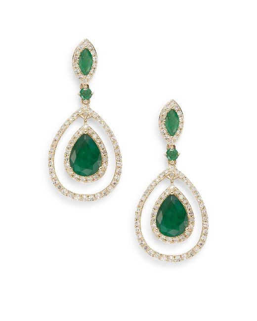 Effy   Metallic Diamond, Emerald & 14k Yellow Gold Drop Earrings   Lyst