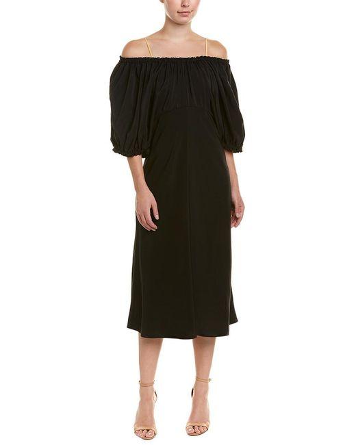 Tibi - Black Sophia Silk Midi Dress - Lyst