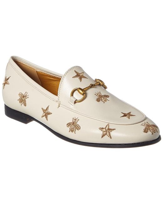c8c8d0cda39 Gucci - White Jordaan Bees   Stars Embroidered Leather Loafer - Lyst ...